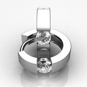 2 Carats channel set solitaire diamond hoop earrin